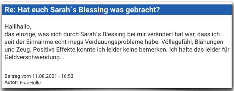 Sarah´s Blessing Erfahrungen Bewertung Erfahrungsbericht Sarah´s Blessing