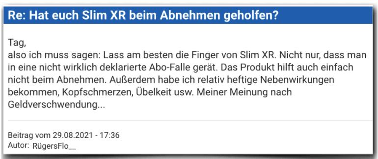 Slim XR Erfahrungsbericht Bewertung Erfahrungen Slim XR