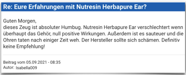Nutresin Herbapure Ear Erfahrungsbericht Bewertung Erfahrungen Nutresin Herbapure Ear
